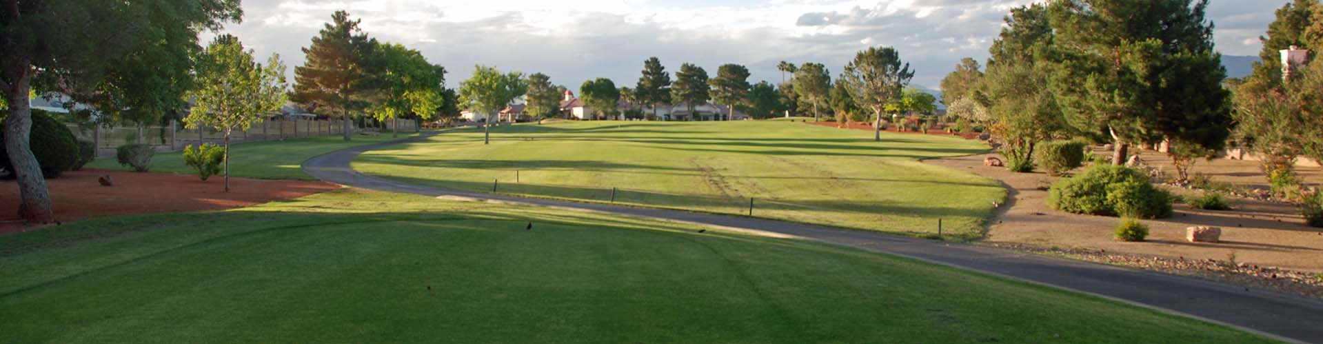 View of the practice area at Los Prados Golf Course
